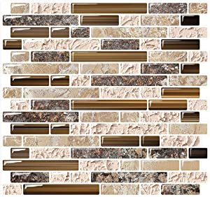 "Yipscazo Peel and Stick Backsplash Tile for Kitchen, Kitchen Backsplash Peel and Stick in Sandstone (10 Sheets 10""x10"")"