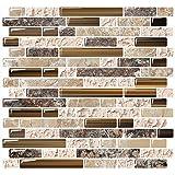 "Yipscazo Peel and Stick Backsplash Tile for Kitchen, Kitchen Backsplash Peel and Stick in Sandstone (10 Sheets 10""x10"")"