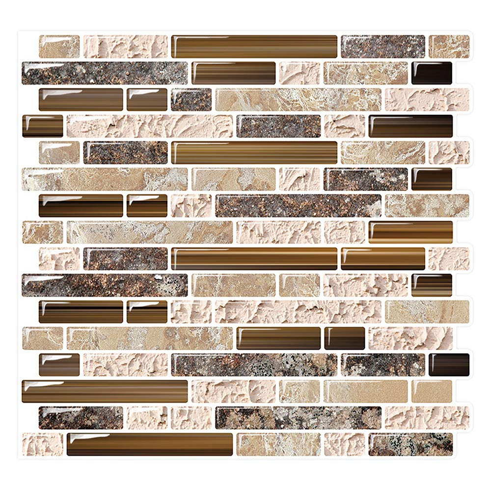 Yipscazo Peel and Stick Backsplash Tile for Kitchen, Anti-Mold Wall Tile in Sandstone (10 Sheets 10''x10'')