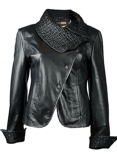 Factoryextreme Fe Ruche Leather Jacket Blazer For Women Black
