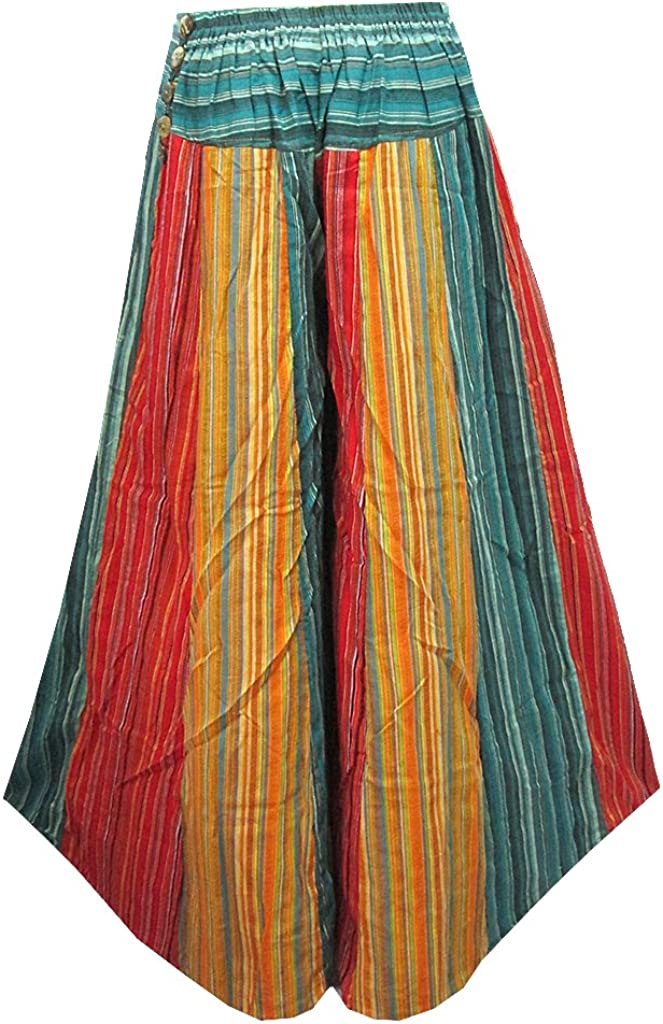 Womens 12-Piece Wide Leg Gaucho Stripe Long Pants