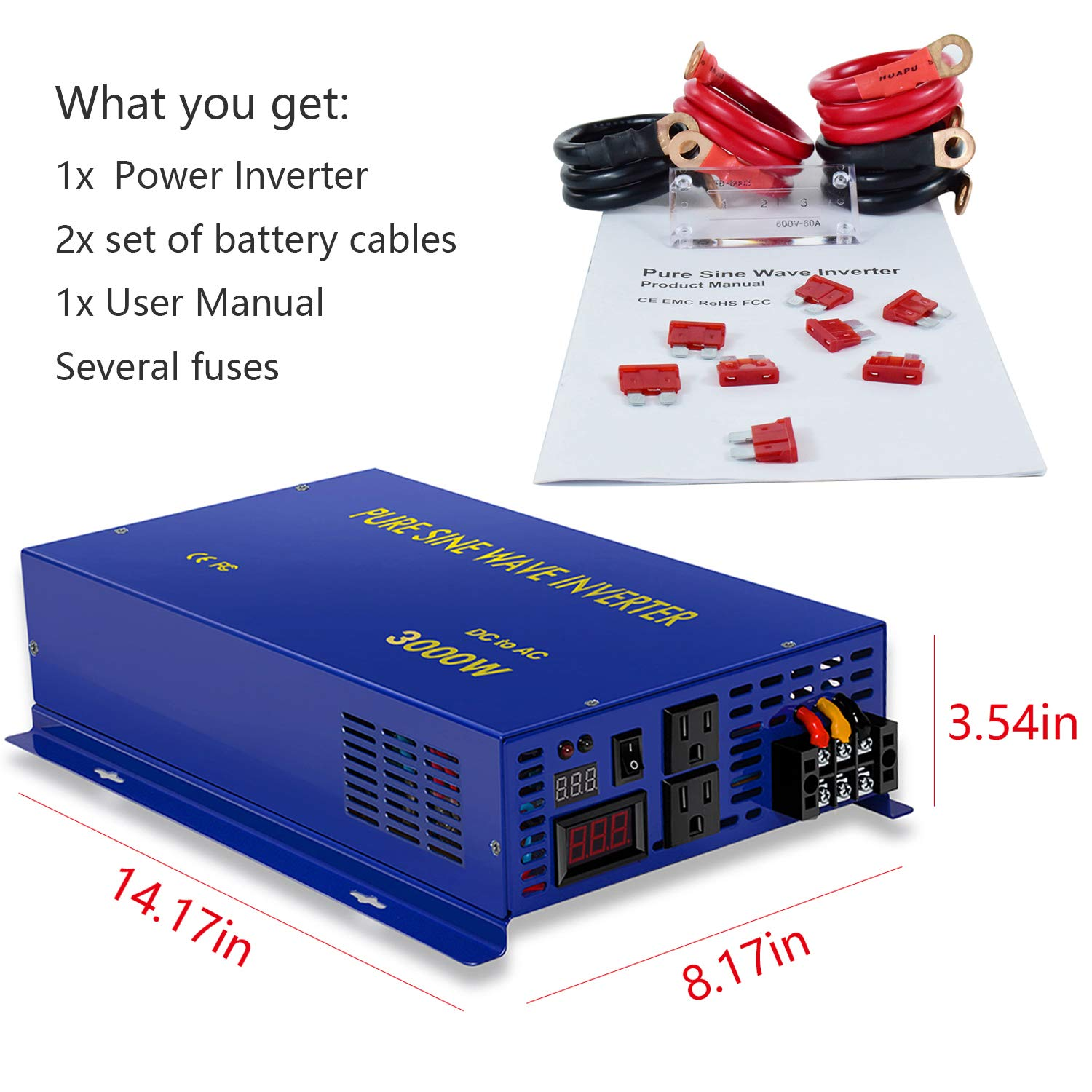 Xyz Invt 3000w Pure Sine Wave Power Inverter 12v Dc To Generator Circuit Schematic Diagram 120v Ac With 2 Outlets Set Of Battery Cables Converter For Home