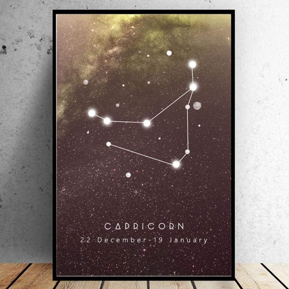 RuYun Doce Constelaciones Lienzo Pintura Arte Abstracto Nebulosa Arte de la Pared Impresiones póster para Sala de Estar Cuadros modulares, Capricornio, 60x90 cm