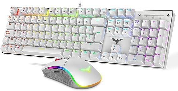 havit Teclado mecánico Gaming y ratón Español Teclados Gaming con Cable, Azul Anti-Efecto Fantasma de 105 Teclas, Ratón Gaming programable(Blanco)