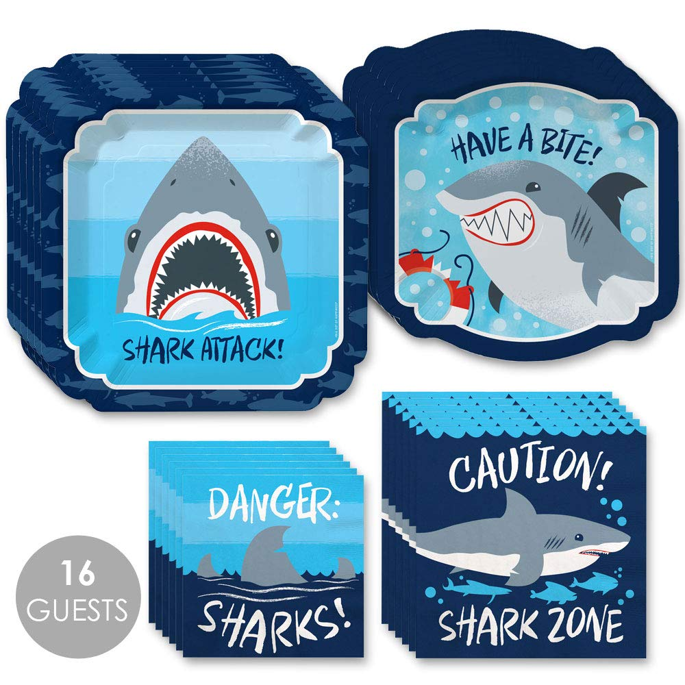 Shark Zone - Jawsome Shark Party or Birthday Party Tableware Plates and Napkins - Bundle for 16