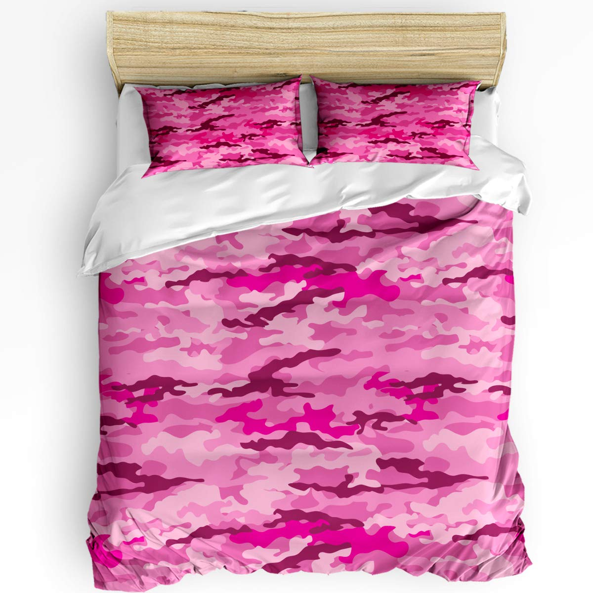 Real Sweet 3Pieces Home Comforter Bedding Sets Camouflage Netting Camo Pink Bedspread Bed Sheet for Adult Kids,Flat Sheet,Pillow Shams Set Twin Size