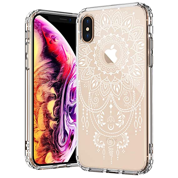 best service 48b43 98876 MOSNOVO Case for iPhone Xs/iPhone X, Mandala Henna Tattoo Lace Pattern  Printed Clear Design Transparent Plastic Back Case with TPU Bumper  Protective ...