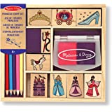 Melissa & Doug 12418 Wooden Princess Stamp Set: 9 Stamps 8 coloured Pencils and 2 Colour Stamp Pad