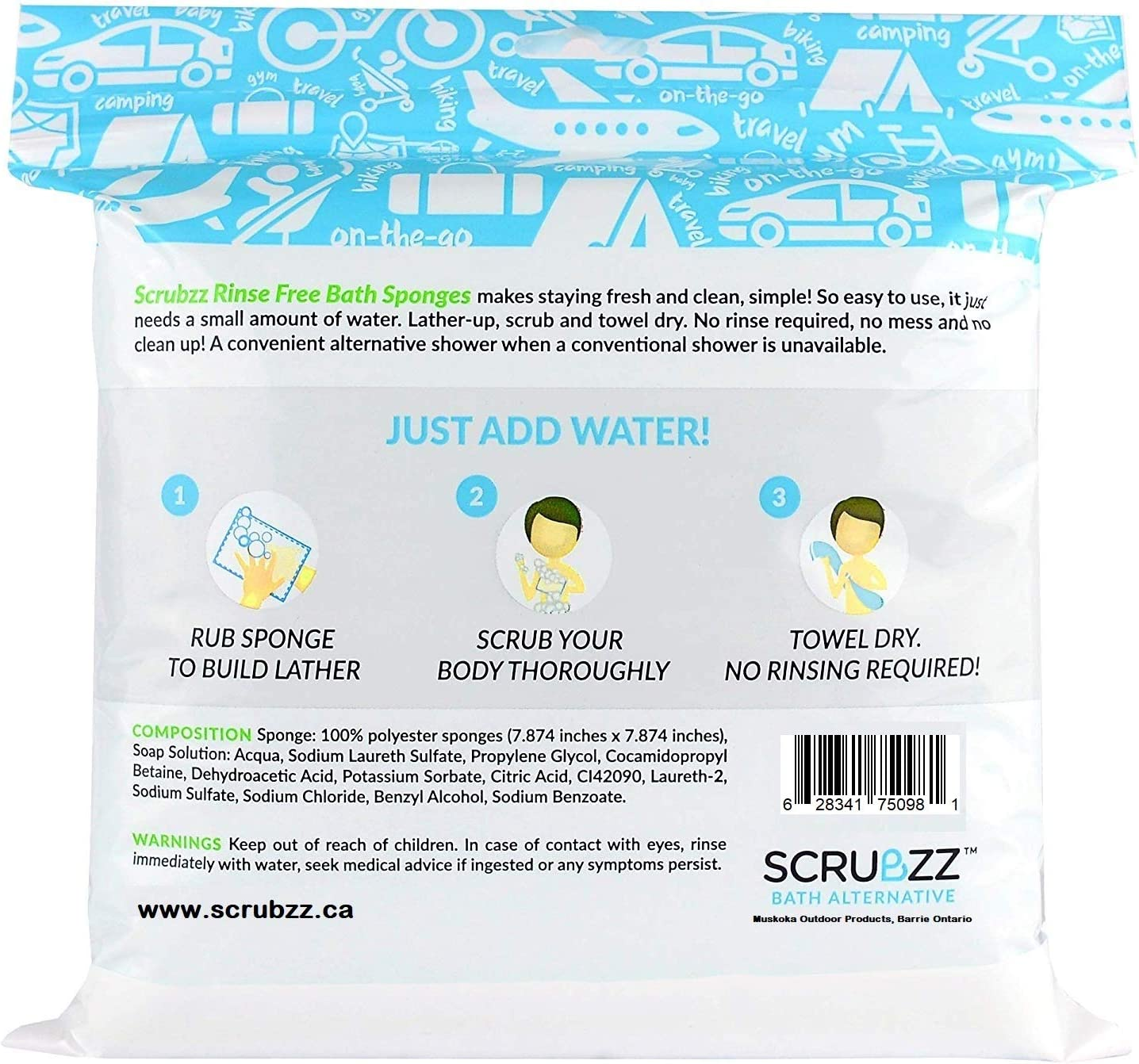 Scrubzz Disposable No Rinse Bathing Wipes - 25 Pack - All-in-1 Single Use Shower Wipes, Simply Dampen, Lather, and Dry Without Shampoo or Rinsing: Health & Personal Care
