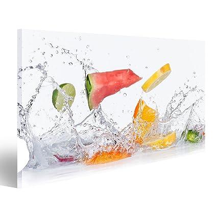 Quadri Moderni Frutta Con Spruzzi Dacqua Isolato Su Sfondo Bianco