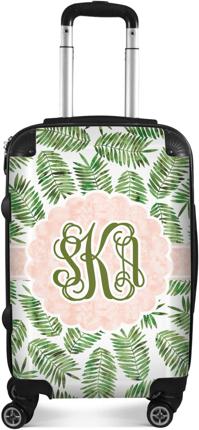 24Medium Checked Tropical Leaves Suitcase Personalized