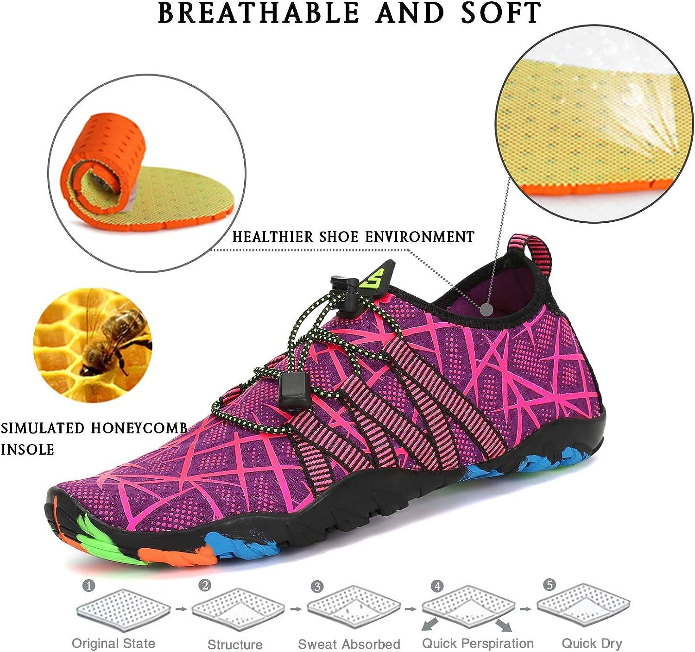 SAGUARO Chaussure Aquatique Homme Femme Chaussures deau L/éger Respirant Chaussons de Sport Piscine,GR.35-48 EU