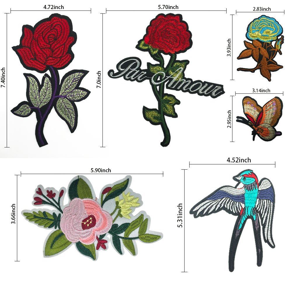 DIY Iron on Patches-OKEER 17Pcs Large Size Flower Birds Butterfly Inserts Embroidery Iron Sewing On Applique Patches for Jackets Backpacks Jeans Clothing (Patch - Flower)