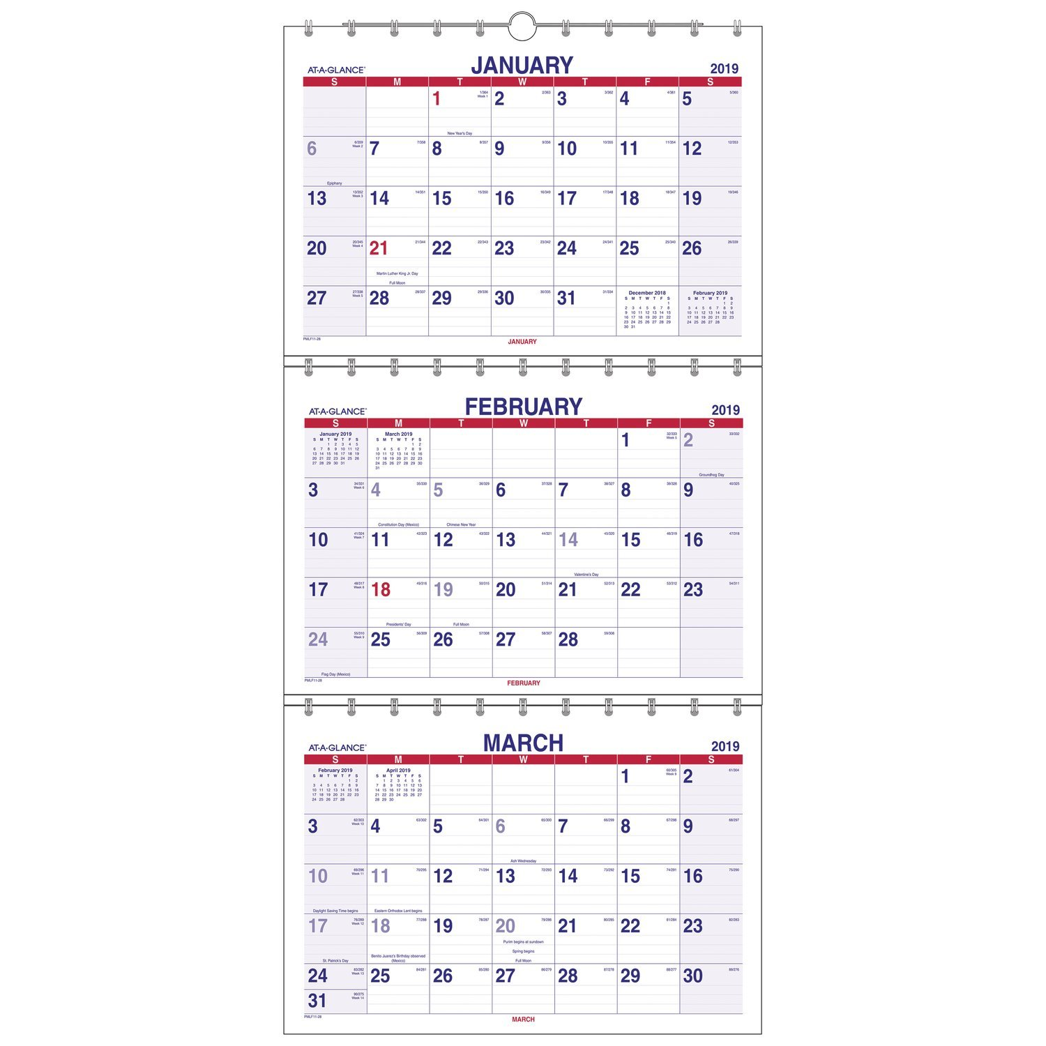 AT-A-GLANCE 2019 Wall Calendar, 3-Month Display, 12'' x 26-1/2'', Large, Move-a-Page (PMLF1128)