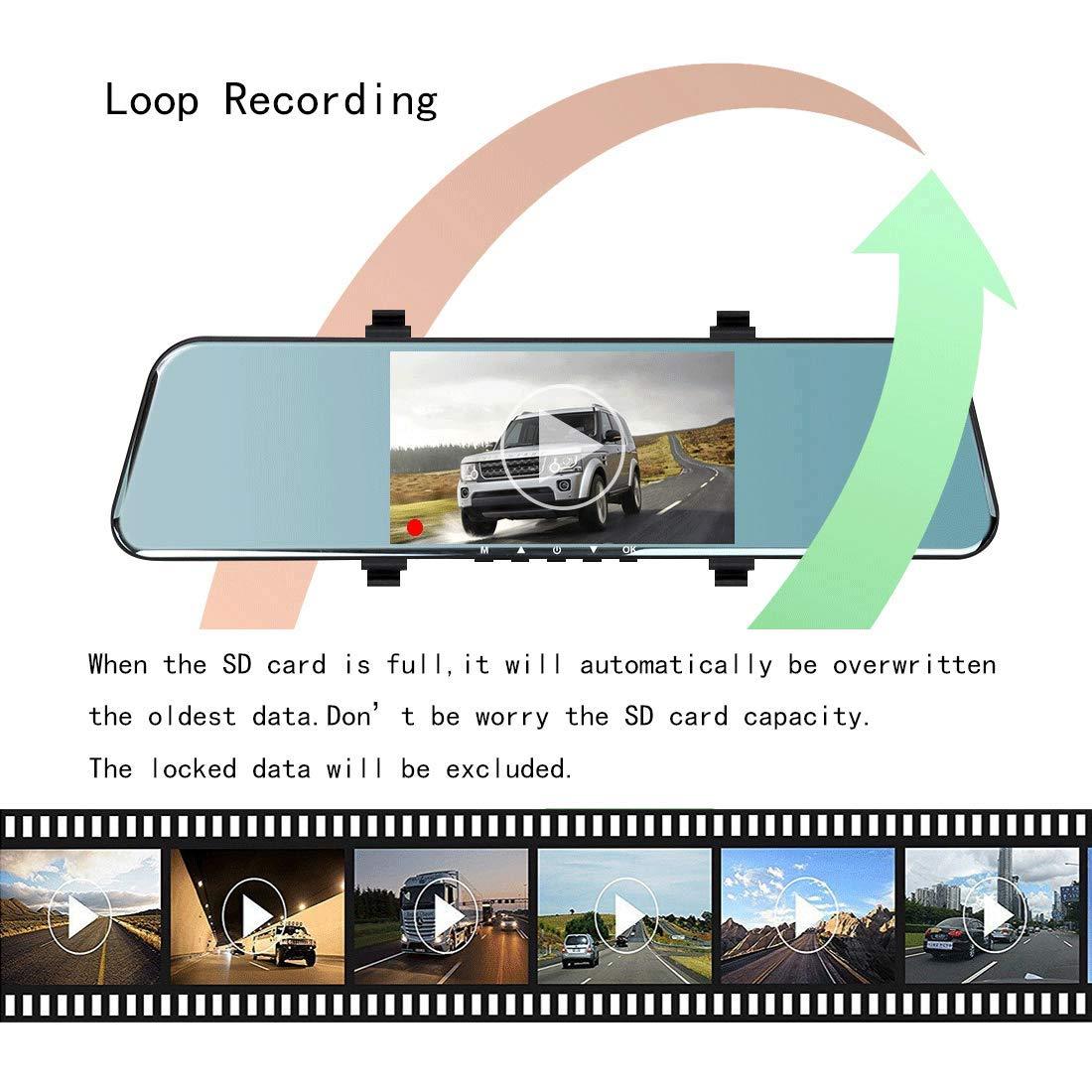 BLUEPUPILE/® 1296P C/ámara de salpicadero FHD Grabadora Dual Lentes Espejo Grabadora de conducci/ón con 170/° Ultra-Wide /Ángulo y 5 IPS Pantalla ADAS Funci/ón G-Sensor 16GB TF Tarjeta incluida
