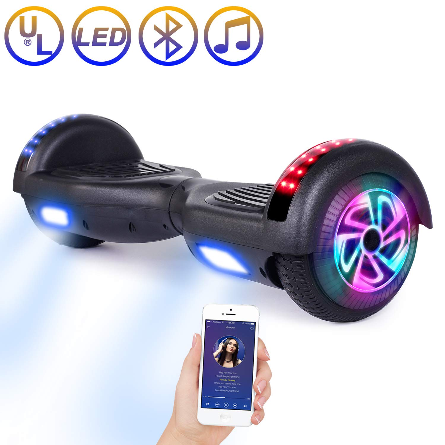 SISIGAD Hoverboard Bluetooth, Self Balancing Scooter 6.5 Self Balancing Hover Board with Bluetooth Speaker and LED Lights Hoverboards for Kids Adults UL 2272 Certified - 4 Color Available