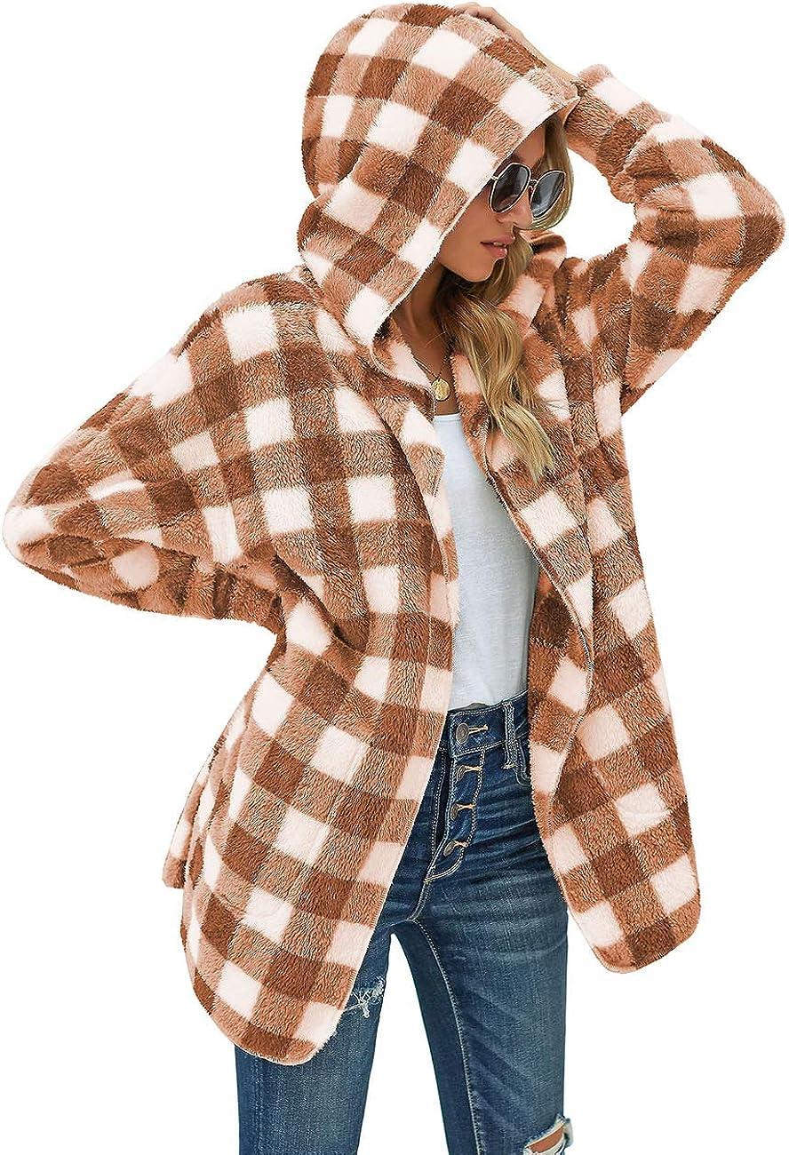Nesee Womens Winter Thicken Cute Jacket Parka Hooded Coat Zipper Pocket Long Sleeves Fleece Jacket Overcoat