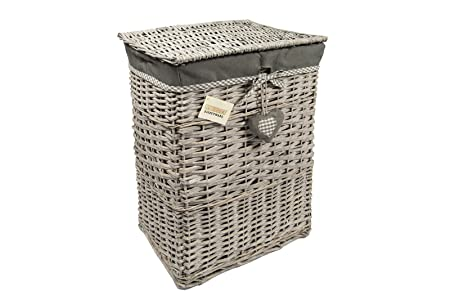 WoodLuv Large Rectangular Laundry Linen Willow Wicker Basket with Lining Grey  sc 1 st  Amazon UK & WoodLuv Large Rectangular Laundry Linen Willow Wicker Basket with ...