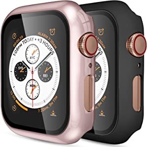 (2 Pack) GEAK Hard Case for Apple Watch 38mm Series 3 with Screen Protector, Full Body Protective Bumper Case Cover for iWatch Series 3/2/1, Matte Black/Rose Gold