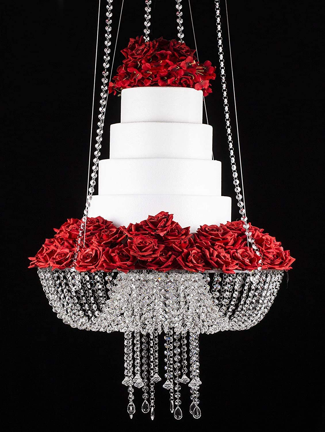 "Wedding Cake Stand Crystal Suspended Cake Swing Chandelier Stand Display for Birthday Wedding Party Reception(18"",Crystal Beaded)"