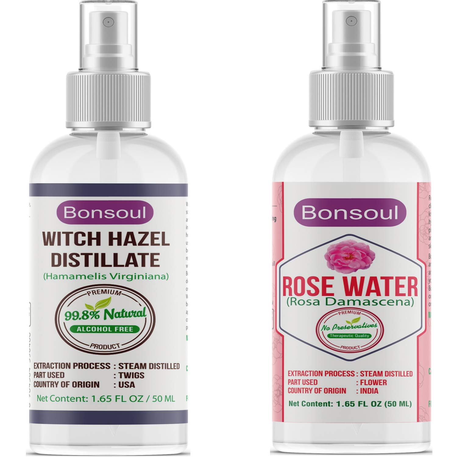 BONSOUL Pure & Natural Witch Hazel and Rose Water Distillate Combo (50ML  EACH)