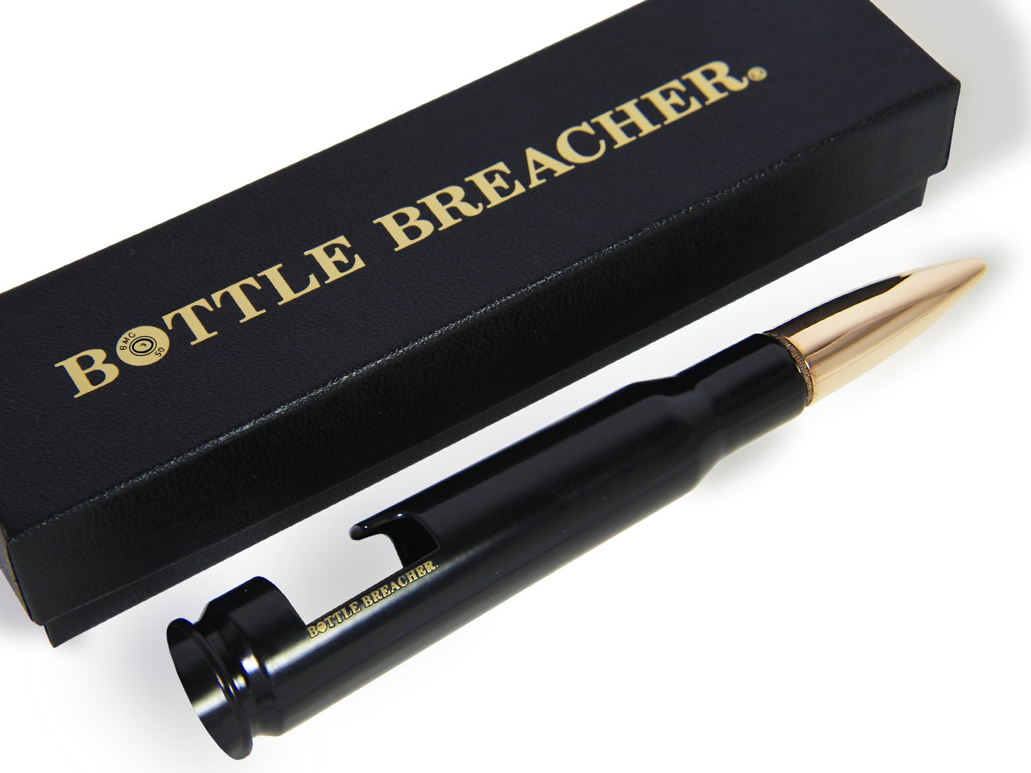 50 Caliber BMG Black Bottle Breacher Bottle Opener with Gift Box Made in the USA