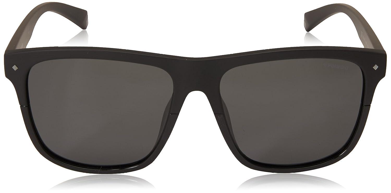 Polaroid Sunglasses Mens PLD 6041/s Polarized Rectangular Sunglasses, Black, 56 mm