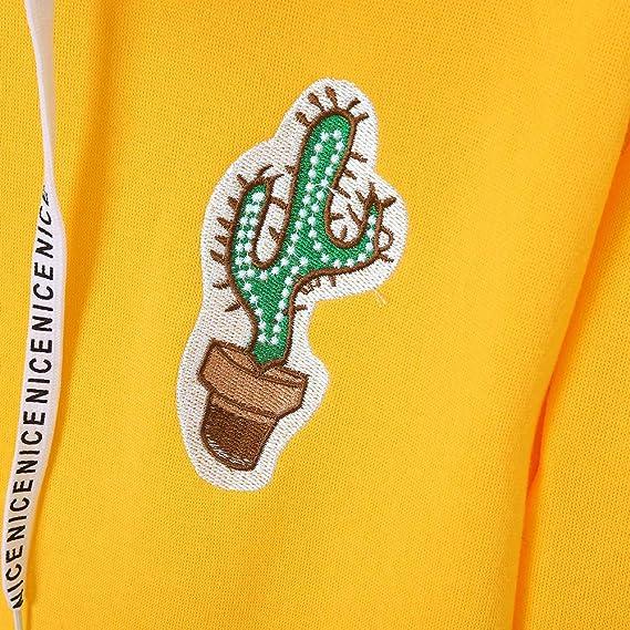 Luckycat Sudadera con Capucha y Estampado de Cactus de Manga Larga para Mujer Sudadera con Capucha y Blusa con Capucha: Amazon.es: Ropa y accesorios