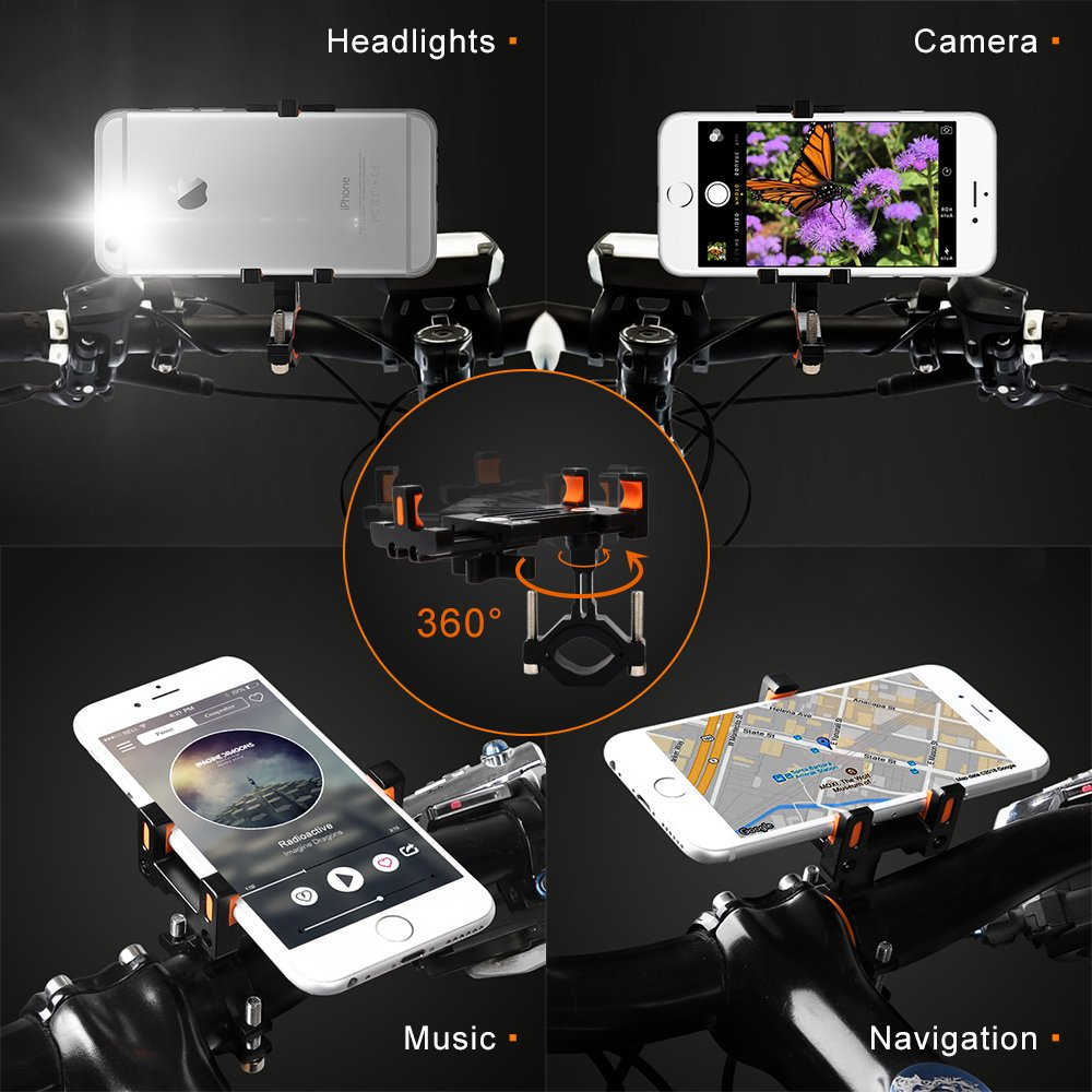 Sporcis Bike Phone Mount, Bicycle Motorcycle Handlebars Mobile Phone Holder with 360 ° Rotation Adjustable, Fits iPhone X, 8 | 8 Plus, 7 | 7 Plus, iPhone 6s | 6s Plus, Galaxy S7/ S6/ S5 by Sporcis (Image #5)