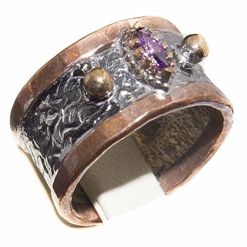 Plata de Ley Unisex Anillos de boda hecho a mano, created-amethyst piedra, envío expreso: Falcon Star: Amazon.es: Joyería