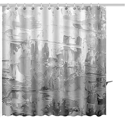 MuaToo Shower Curtain Abstract Art Background Oil Painting On Canvas Black And White Texture Fragment Of