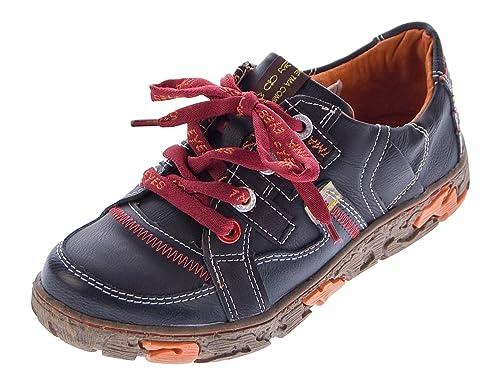 TMA Comfort Damen Leder Schuhe Schnürer 4181 Sneakers Schwarz Weiß Rot Grün Turnschuhe Halbschuhe