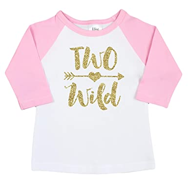 Two Wild Glitter Gold 2nd Birthday Shirt For Girls Pink Raglan Baseball Tee Second