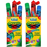 2-Pack Sunstar GUM Crayola Squeeze-A-Color Anti-Cavity Fluoride Toothpaste,1.5oz