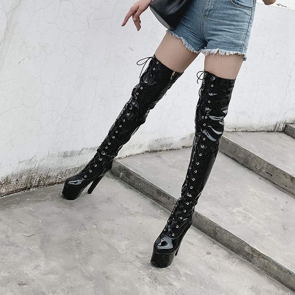 CuteFlats Fashion Plateau - Stivali alti da coscia con tacco stiletto Nero