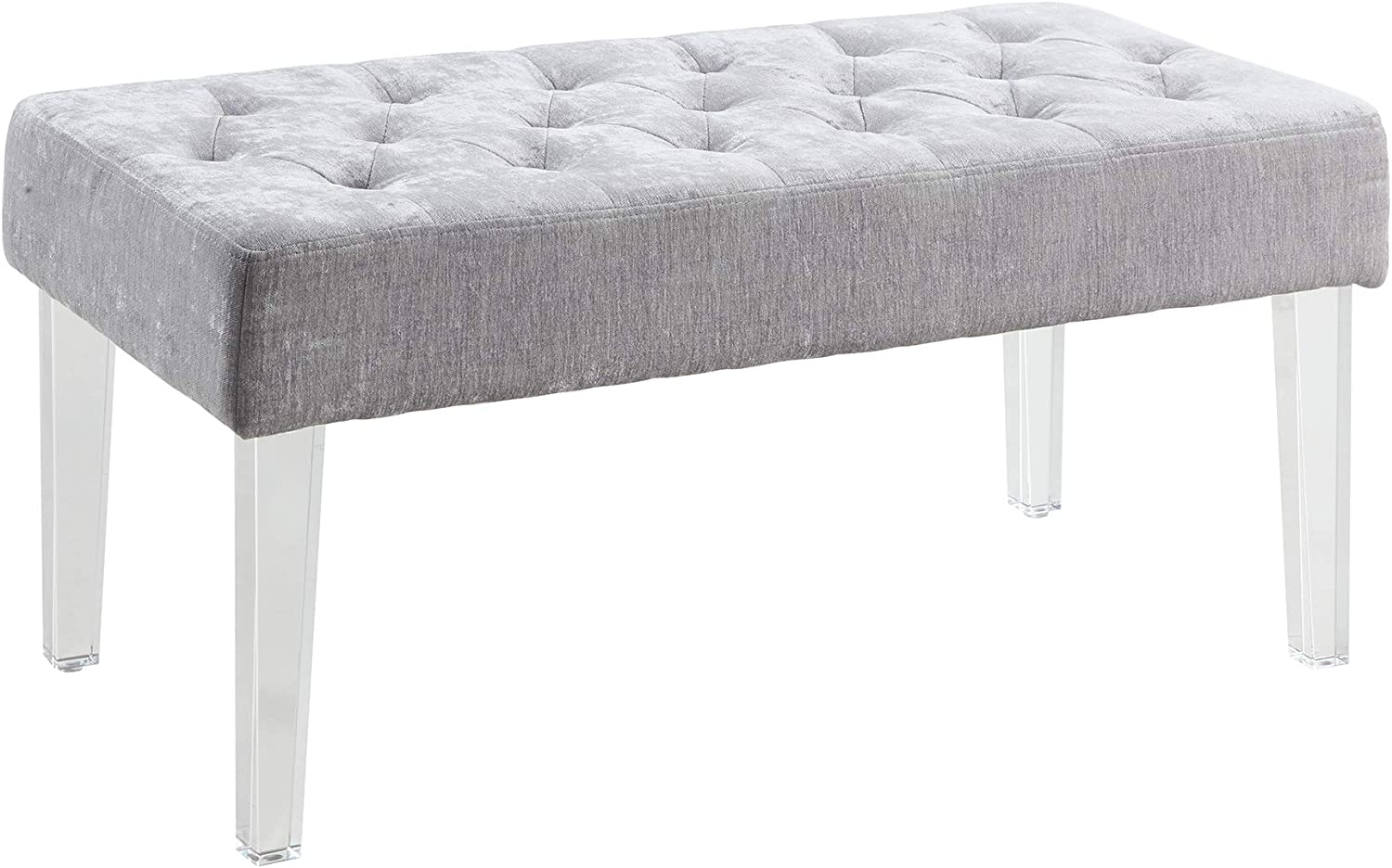 Benjara Tufted Fabric Upholstered Bench with Acrylic Legs, Gray and Clear