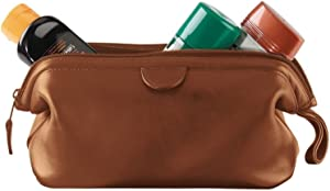 Royce Leather Travel Toiletry Wash Bag in Leather, Tan 1, One Size