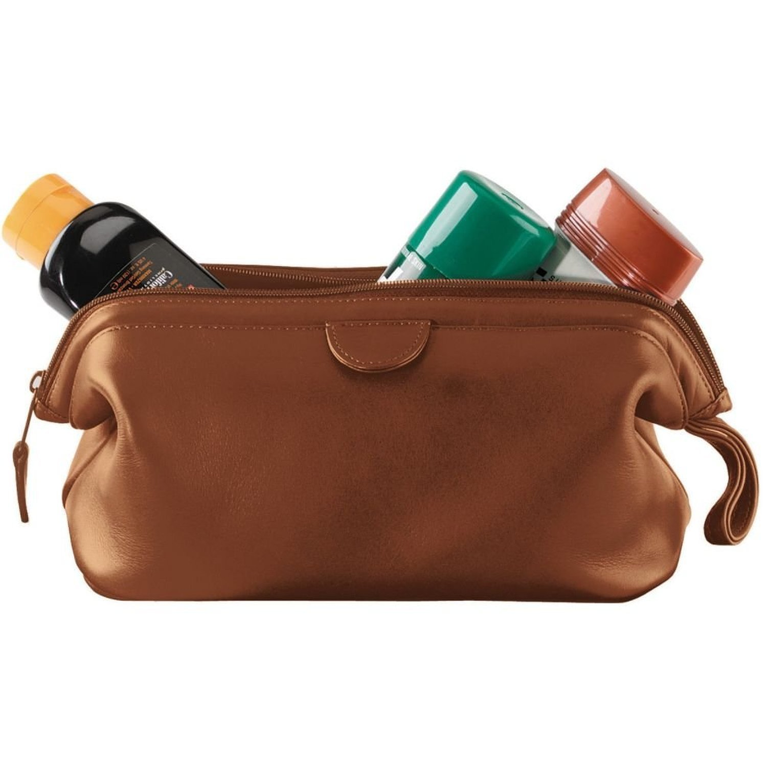 Royce Leather Travel Toiletry Wash Bag in Leather, Tan 1