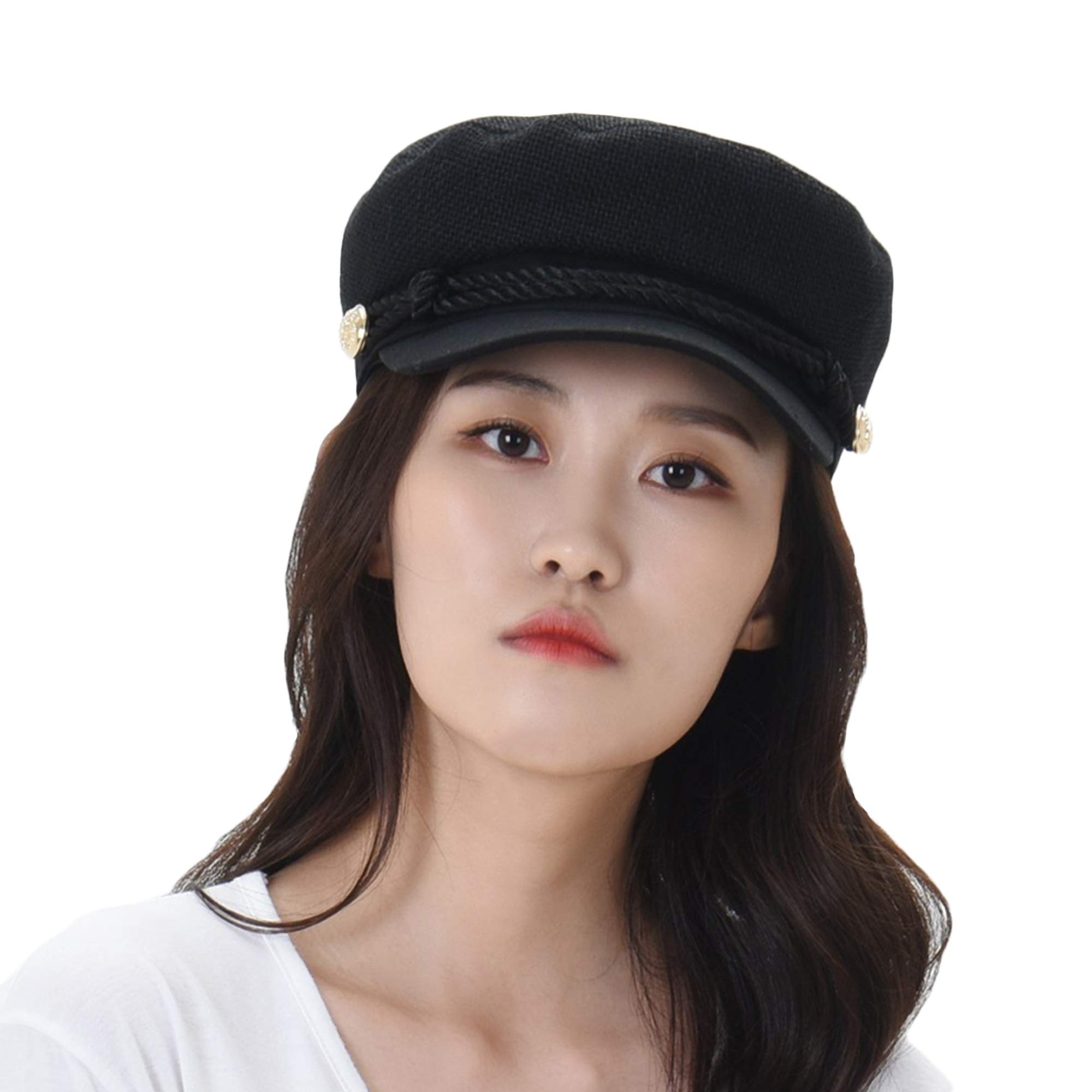 WITHMOONS Women Linen Newsboy Cap Mesh Breathable Summer Hat MUG1164 (Black) by WITHMOONS (Image #1)