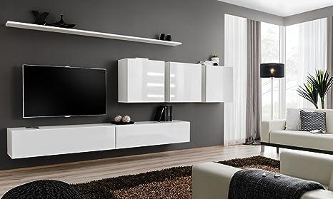 All4all Wohnwand Mithochglanz Tv Board Anbauwand Schrankwand