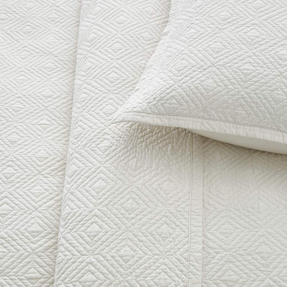 Calla Angel Evelyn Stitch Diamond Luxury Pure Cotton Quilt, Ivory, King by Calla Angel (Image #4)