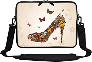 Meffort Inc 11.6 12 Inch Neoprene Laptop Sleeve Bag Carrying Case with Hidden Handle and Adjustable Shoulder Strap - Butterfly High Heel