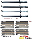 Hongso 4-PK Vermont Castings Gas Grill Replacement Kit Grill Burner and Heat Plate (SBC001, SPZ081)