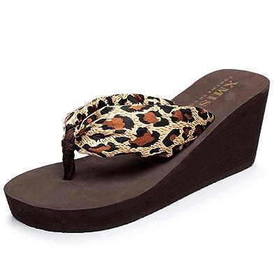 DANDANJIE Femmes Tongs Léopard Style Été Plage Chaussures Anti-Dérapant  Cool Pantoufles Mode Shopping Pantoufles c5af6200739e