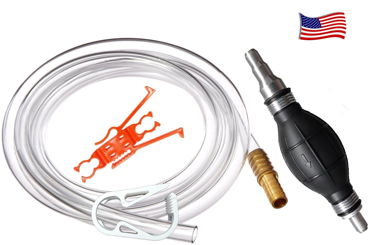 Plumber's Siphon Pro - Universal Gas, Oil, Potable Water - 1 Gl. Per Min. - W/ 9 ft. of Hose & Fits Any Hose, Any Length - Brass Weight & Hose Extender to Sink Hose -More Gl. Per Minute W/Larger Hose