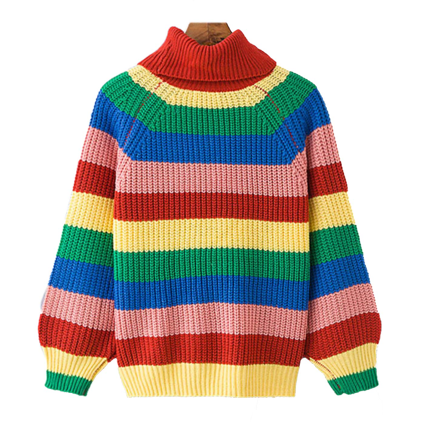 Women Rainbow Turtleneck Sweaters Jumpers Knitted Clothes Striped Oversized