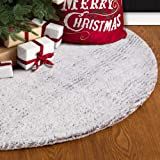S-DEAL 48 Inches Faux Fur Christmas Tree Skirt Decoration Double Layers Soft Carpet Xmas Holiday Party Ornaments Indoor Outdoor Decorative Gift, felt, 48 Inch White Tree Skirt, 48 Inch Faux Fur Tree Skirt