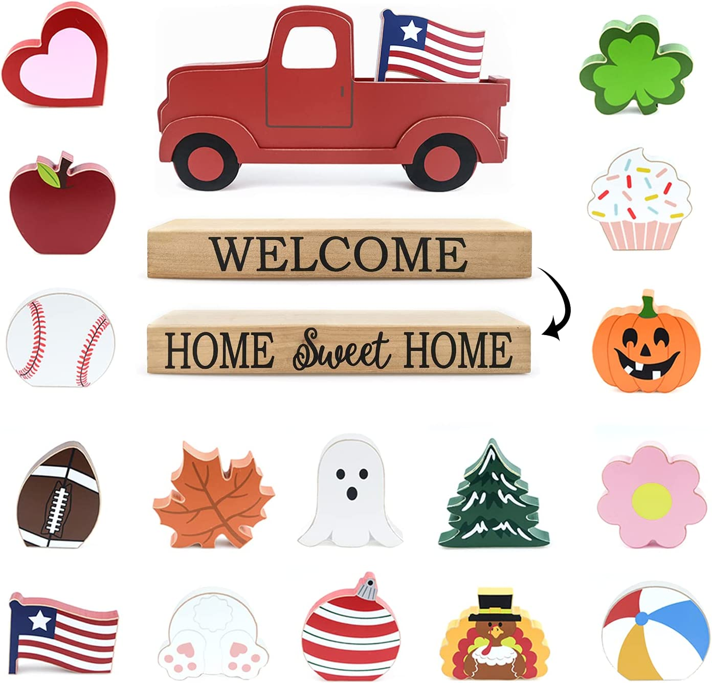 Winder Red Truck Decor Home Welcome Sign 2-Side Wood Block Seasonal Cutout Set Tabletop with Interchangeable 16-PC Icons for Spring 4th of July Halloween Christmas for Farmhouse Mantel Decor