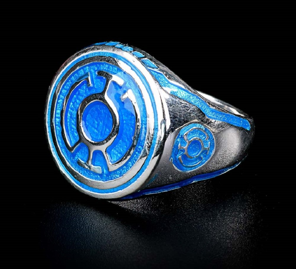Blue Lantern Ring Sinestro Corps Power Ring Blue Enamel 925 Sterling Silver