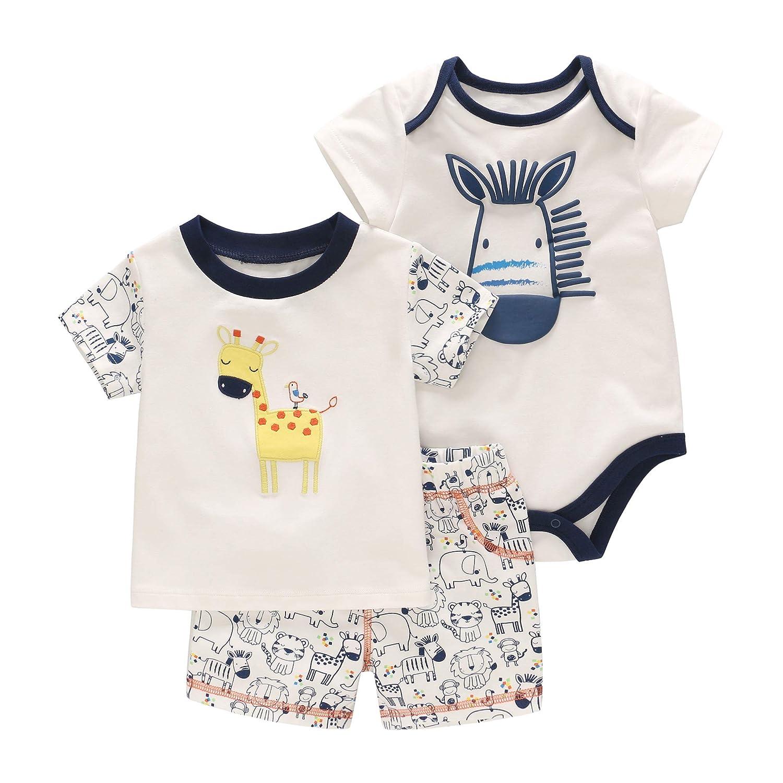 Baby Pyjama Sommer Strampler Jungen Jumpsuit Kurzarm-Body Spieler Outfits 3-12 Monate